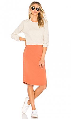 Платье double layer MONROW. Цвет: тёмно-оранжевый