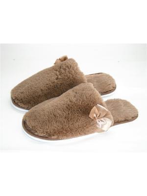 Туфли комнатные - тапочки Тефия. Цвет: серо-коричневый, бежевый
