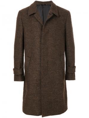 Тканое пальто Hevo. Цвет: коричневый