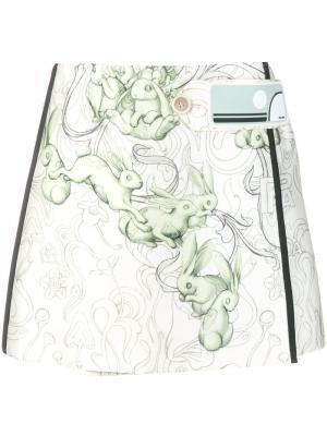 Мини юбка с принтом кроликов Prada. Цвет: многоцветный