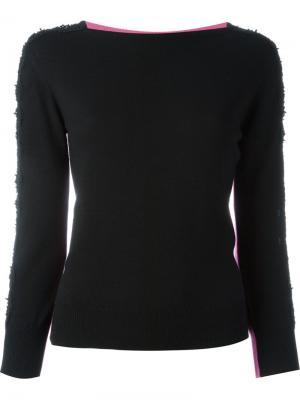 Блузка в стиле колор-блок Oscar de la Renta. Цвет: чёрный