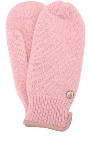 Вязаные варежки из шерсти Roeckl. Цвет: розовый