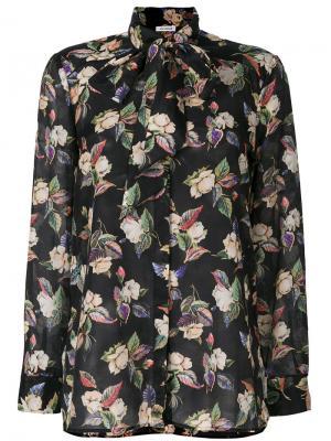 Блузка с цветочным принтом Vilshenko. Цвет: чёрный