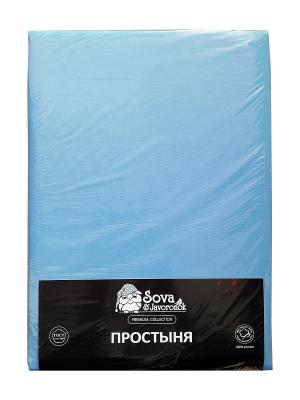 Простыня 1,5 сп. Sova and Javoronok. Цвет: голубой