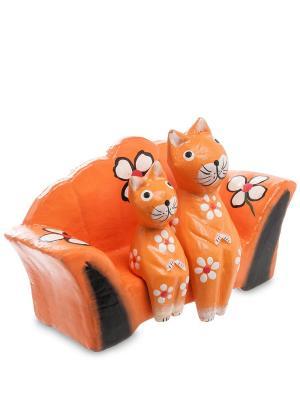 Статуэтка mini КОШКИ на диване Decor & gift. Цвет: оранжевый