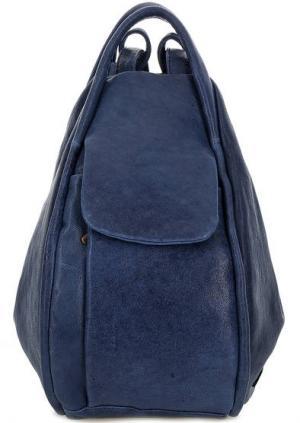 Кожаная сумка-рюкзак синего цвета Bruno Rossi. Цвет: синий