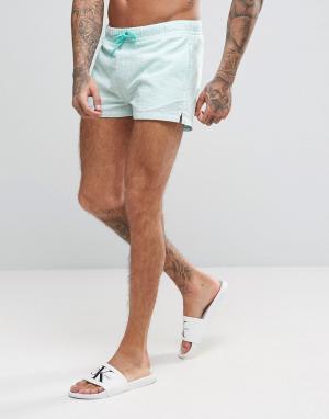 ASOS Короткие шорты для плавания из жатой ткани в полоску. Цвет: зеленый