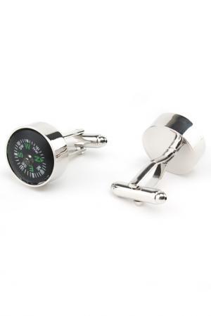 Запонки компас морские Churchill accessories. Цвет: серебряный