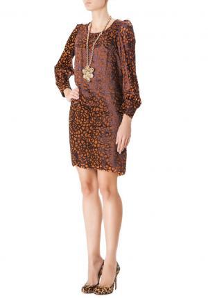 Платье из вискозы с принтом Junya Watanabe. Цвет: оранжевый