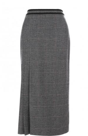Шерстяная юбка-миди в клетку Erdem. Цвет: серый