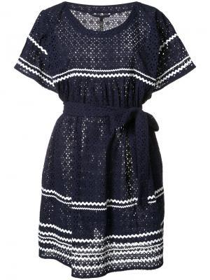 Платье в полоску с поясом Lisa Marie Fernandez. Цвет: синий