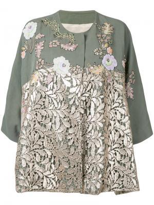 Пиджак с кружевными панелями Antonio Marras. Цвет: металлический