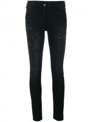 Состаренные джинсы скинни 3X1. Цвет: чёрный