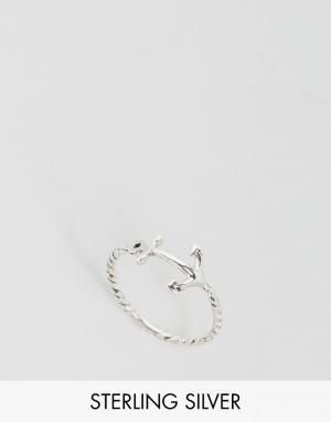 Kingsley Ryan Серебряное кольцо с якорем. Цвет: серебряный