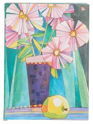 Тетрадь на кольцах 120 листов.Натюрморт (витраж) Канц-Эксмо. Цвет: голубой, желтый, розовый