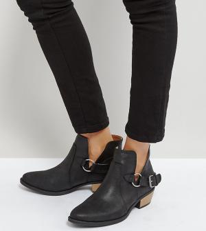QUPID Ботинки с отделкой в стиле вестерн. Цвет: черный