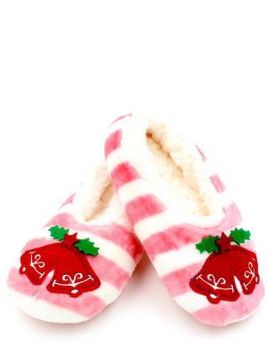 Носки-тапочки HOBBY LINE. Цвет: белый, розовый