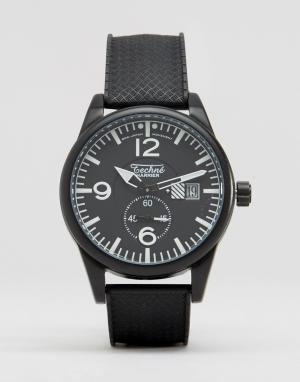Techne Часы с черным резиновым ремешком. Цвет: черный