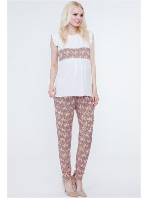 Блузка TUTTA MAMA. Цвет: белый, персиковый, черный