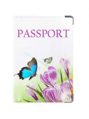 Обложка для паспорта Бабочки Tina Bolotina. Цвет: салатовый, голубой, сиреневый