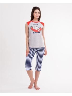 Комплект одежды: майка, бриджи Mark Formelle. Цвет: синий, серый меланж