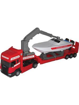 Машина Scania boat transport AUTOTIME. Цвет: красный, белый