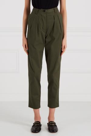 Хлопковые брюки на высокой талии Cyrille Gassiline. Цвет: зеленый