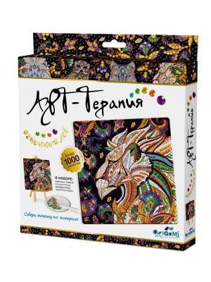 Арт-терапия. Мозаика. Алмазные узоры. Огненный Лев Origami. Цвет: черный, белый, золотистый