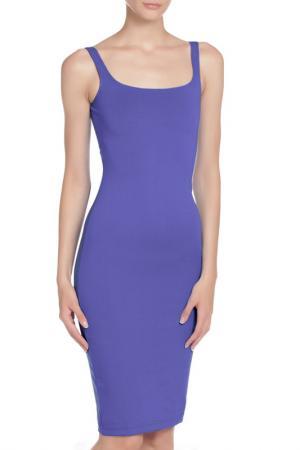 Прилегающее платье с разрезом сзади American Apparel. Цвет: cornflower