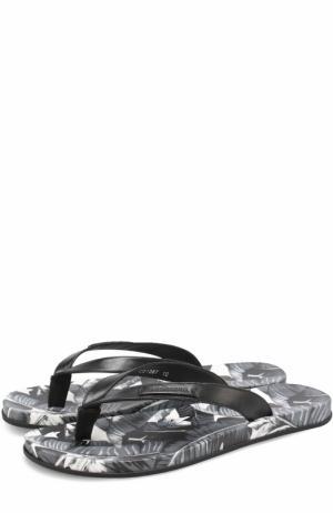 Кожаные шлепанцы на подошве с принтом Dolce & Gabbana. Цвет: серый