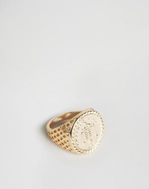 Chained & Able Золотистое кольцо Old English. Цвет: золотой