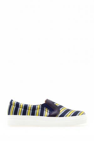 Сатиновые слипоны Varsity Swear. Цвет: синий, желтый