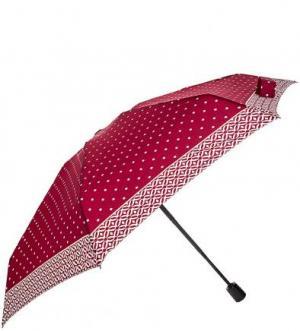 Бордовый зонт со складной ручкой Doppler. Цвет: горошек