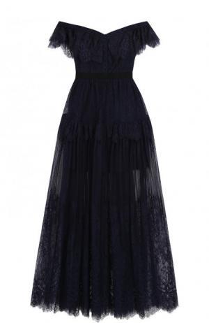 Приталенное кружевное платье-макси с открытыми плечами self-portrait. Цвет: темно-синий