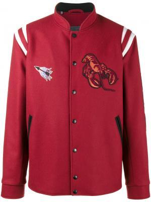 Бейсбольная куртка с нашивками Lanvin. Цвет: красный