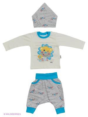 Костюм для малышей WO&GO. Цвет: белый, бирюзовый, серый меланж
