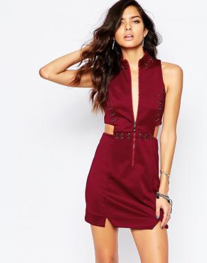 The Laden Showroom Платье мини с люверсами и кольцами X Rok & Rebelle. Цвет: красный