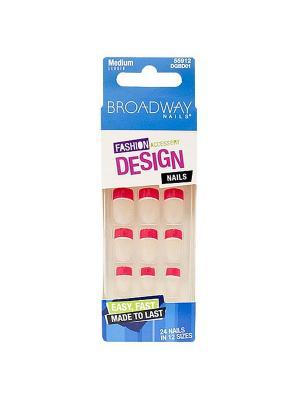Broadway Набор накладных ногтей без клея, средней длины Фэшен дизайн 24шт Kiss. Цвет: малиновый, прозрачный