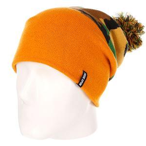 Шапка с помпоном True Spin Original Camo Orange TrueSpin. Цвет: оранжевый,камуфляжный