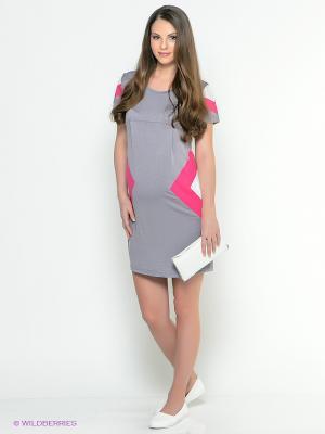 Платье EUROMAMA. Цвет: серый, фуксия, белый
