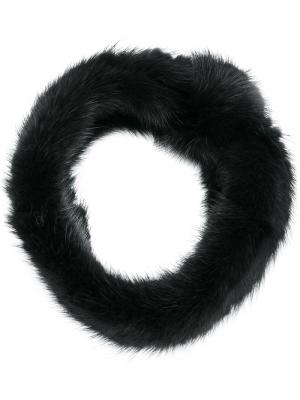 Меховой шарф-снуд Yves Salomon Accessories. Цвет: чёрный