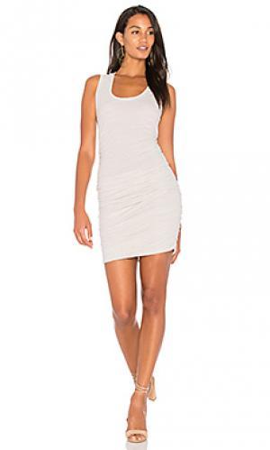 Платье на шлейках с рюшами Lanston. Цвет: беж