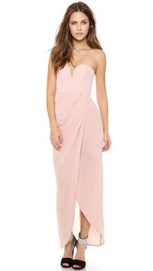 Драпированное макси-платье без бретелек Zimmermann. Цвет: розовая вода