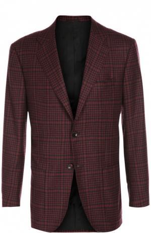 Пиджак из смеси кашемира и шелка с платком Kiton. Цвет: бордовый