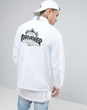 HUF Спортивная куртка с принтом на спине x Thrasher. Цвет: белый