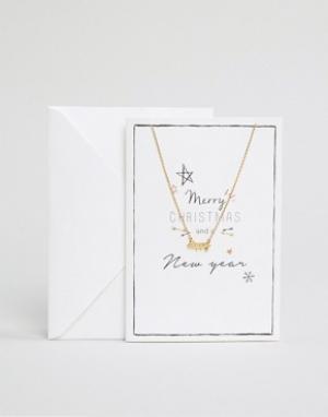 Orelia Ожерелье с подарочной открыткой Merry Christmas. Цвет: золотой