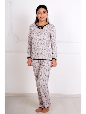 Пижама (кофта,штаны) Lika Dress. Цвет: коричневый, светло-бежевый