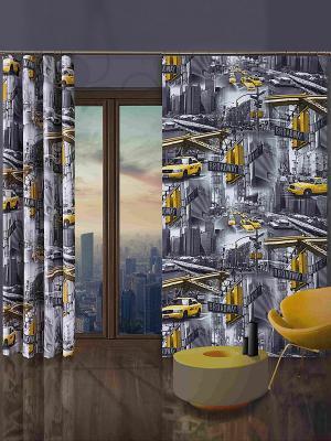 Комплект штор Wisan. Цвет: темно-серый, желтый