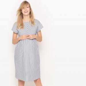 Платье для периода беременности в полоску из хлопка и льна La Redoute Collections. Цвет: в полоску белый/синий