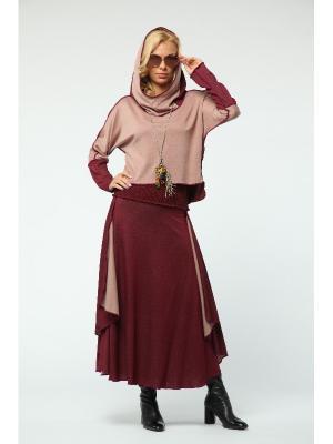 Костюм: юбка, джемпер KATA BINSKA. Цвет: бордовый, розовый